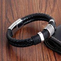Fait à la main en cuir véritable tissé tissé double couche homme bracelets décontractés sports vélo motocyclette délicat chool hommes bijoux pH891 1073 q2