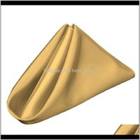 Table Napkin 10Pcs Gold Square Cloth Napkins For Holiday Party Banquet Wedding Els Decor Uieug Bdzqk
