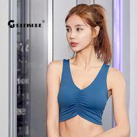 Sportswear Folds Sports Top External Wear Sockproof Gather Yoga Bra Breathable Running Fitness Gym Vest