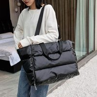 Evening Bags Winter Large Capacity Tote Shoulder Bag For Women 2021 Waterproof Nylon Space Pad Cotton Feather Down Big Female Handbags