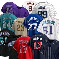 13 Ronald Acuna Jr. Baseball Jerseys 51 Randy Johnson 24 Ken Griffey JR Jersey 12 Wade Boggs 27 Vladimir Guerrero JR Mike Trout Cal Ripken Jr.