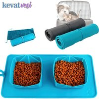 Folding Dog Double Bowl Silicone Pet Pad Portable Drinking Mat For Cats Dogs Outdoor Non-Slip Supplies Kennels & Pens