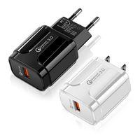 شحن سريع 3.0 شاحن USB QC3.0 سريع شحن الاتحاد الأوروبي الولايات المتحدة التوصيل محول الجدار الهاتف المحمول لسامسونج S 8 9 ملاحظة 4 5 10 Xiaomi Huawei