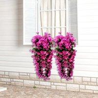 Moda Violeta Flores Artificiais Parede Pendurado Cesta Flor Orquídea De Seda Grinalda Videira Casa Festa De Casamento Decoração Luz de Rua OOD6282