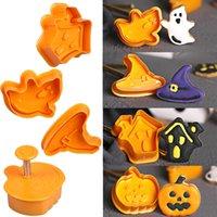 4pcs Halloween Pumpkin Ghost Theme Plastic Cookie Bakeware Cutter Plunger Fondant Sugarcraft Chocolate Mold Cake Decorating Tools