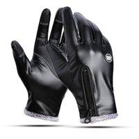 Winter Men Women Warm Thermal Fleece Leather Cycling Glove with Zipper Windproof Waterproof Antilsip Ski Snow Snowboard Gloves