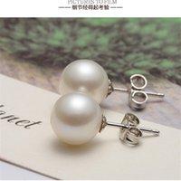 Big Size Pearl 12-13 мм Кнопка пресноводная белая жемчуга 925 Серрелинг серебро простые Шпильки Женщины Красота Жемчужные Украшения 630 Q2