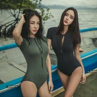 Beach Conjoined Professional Women Small Breasts Gather Conservative Slim Slimming Belly Sports Short Sleeve Spring Swimsuit Women's Swimwea