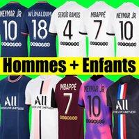 PSG Camiseta de fútbol 21 22 paris saint germain camisetas 2021 2022 MBAPPE NEYMAR JR SERIO RAMOS HAKIMI hombres + kit de niños maillot de foot 4th de la soccer jerseys