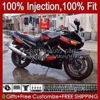 حقن OEM أحمر أسود لامع الجسم ل Kawasaki Ninja ZZR 600 400 ZZR400 1993 1994 1994 1995 1996 1998 1998 1999 84HC.98 ZZR600 ZZR-400 ZZR-600 00 01 02 04 04 04 05 07 ABS Fairing