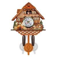 العتيقة الخشب الوقواق ساعة الحائط الطيور وقت جرس سوينغ إنذار ووتش المنزل الديكور H0922
