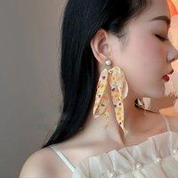 Fashion Bohemian Style Popular Earring Personality Long Earrings with Fabric Bow Ribbon Girls Earrings Jewelry Drop Earrings