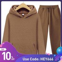 Women's Two Piece Pants Solid Sportswear Pullover Women Suit Autumn Casual Oversized Hooded Sweatshirt Streetwear High Waist Trousers Set