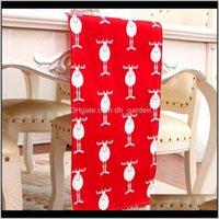 ديكورات 30x180 سنتيمتر 30x275 سنتيمتر مرح أحمر سانتا كلوز الأيائل المطبوعة سماط طويلة عداء القماش عيد الميلاد ديكور المنزل الجدول غطاء DBC 5DOI KXG5Z