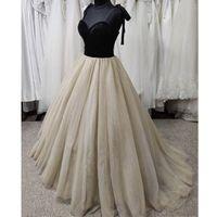 2021 Stunning Black Gothic Velvet Wedding Dresses spaghetti strap Arabic Country Plus Size Cheap Bridal Gown Ball Bride