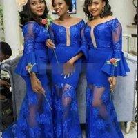 Royal Blue Mermaid Bridesmaid Dresses Saudi Arabic Long Sleeves Scoop Wedding Guest Gowns See Through Sexy Maid Of Honor Dress