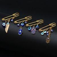 Glückliches Auge Blau Türkisch Böse Augen Broschen Pin für Frauen Männer Mode Gold Silber Farbe Tropfen Öl Palm Charme Brosche Schmuck