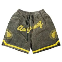 high street 21 army cashew flower embroidery washed old drawstring shorts men's Hip Hop Pants