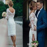 Summer Short Wedding Dresses Knee Length Simple Sheath Mermaid Dress Bridal Gowns Custom Made