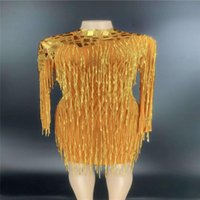 Party Decoration V88 Female Stage Perform Gold Tassels Evening Long Dress Catwalk Show Stretched Siamese Sleeve Skirt Mirror Glass Outfit Dj