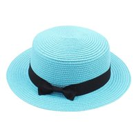 Stingy Brim Hats Simple Summer Beach Hat Female Casual Lady Women Flat Bowknot Straw Cap Girls Sun Casquette Femme#P2