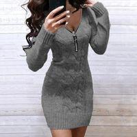 Casual Dresses Women's Knitting Dress Sexy Long Sleeve Zipper V Neck Solid Slim Modis Ladies Party Club Short Bodycon #G3
