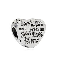 Fashion Charms Jewelry Findings And Components Love Kiss Forever Alloy Loose Bead For Pandox Bracelet Bangle European Style