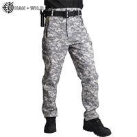 HAN дикий тактический мягкий оболочков флисовой грузовые мужчины военные брюки камуфляж армейские пады случайные брюки унисекс водонепроницаемый