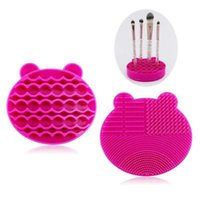 Makeup Brushes Silicon Brush Cleaning Mat With Drying Holder Cleaner Portable Bear Shaped Cosmetic Pad
