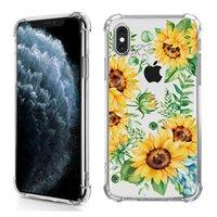 Coussin de coussin d'air TPU transparent de la peinture TPU transparent pour iPhone 12 Mini 11 Pro Max 6 7 8 Plus SE XR XS X Couverture florale