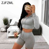 Sexy Fitness dress Two Piece Set Women's Tracksuit Hooded Full Sleeve Bandage Crop Top + Bodycon Shorts Causal Neon 2 Pieces Outfit