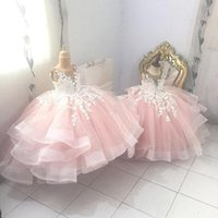 Sweet Pink Lace Flower Girl Dresses 2022 Sheer Neck Tiers Ball Gown Little Girls Wedding Gowns Communion Pageant Dress STZ23
