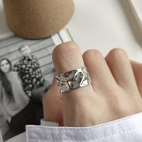 Cluster Rings Punk Wild Authentic S925 Sterling Silver FINE Jewelry Personality Irregular Geometric Band Wide Face Adjust Women's J464