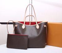 2pcs 패션 여자 여성 Luxurys 디자이너 가방 가죽 핸드백 메신저 크로스 바디 어깨 가방 totes 지갑 레이디 클러치