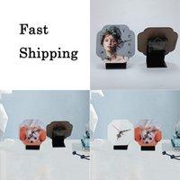 Polygone Sublimation Vierge MDF Horloge Décor Panneau de Bois Personnalisé Cadre photo Cloche de bureau avec aiguille