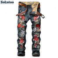 Sokotoo erkek çiçek nakış yama yırtık kot rahat delik ince düz sıkıntılı denim pantolon