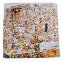 [Bysifa] Grey Gold Huile Peinture Maiden Design Twill Soie Soie Écharpe Châle Fashion100% Soie Soik Square Foulards Flamps Écharpe de la tête de la marque