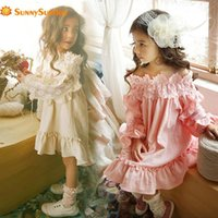 Girl's Dresses Top Fashion Full Flowers Petal Sleeve Ball Gown Solid 2021 Princess Flower Girl Kids Clothes For Party And Wedding