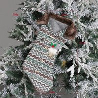 Party Supplies Lattice Christmas Stocking Knitted Candy Bag xmas Tree Ornaments Socks Holiday Gift Bags Decoration Props EWF9121