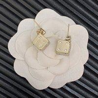 C001-48 18K Gold Dice Zircon Stud Luxury Designer Earrings With Stamp Top Party Gift