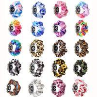 Scrunchies Apple Watch Bands 38 / 40mm 42 / 44mm, Mujer Pattern Pattern Patrón de tela Impresa Pulseras Correas Elastic Scrunchy Band para iWatch Series 6 5 4 3 2 1 SE