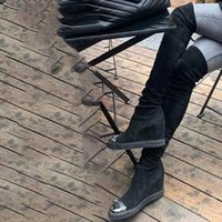 Dipsloot Girls Sliver Catene di punta con cuneo sugli stivali da ginocchio Donna Altezza Aumento 8 cm Scarpe elastiche elastiche