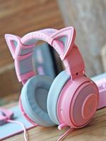 Headphones & Earphones Authentic Razer KRAKEN Pink Quartz Cat Ears Gaming Headset Crystal Multi-platform 3.5mm Wired Headphone For Girl