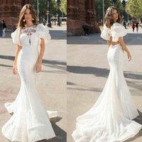 Gorgeous Full Lace Mermaid Bohemian Wedding Dress With Puff Sleeve Sexy Open Back Country Boho Bride Dresses Sweep Train 2021 Elegant Outdoor Women Robe De Mariée