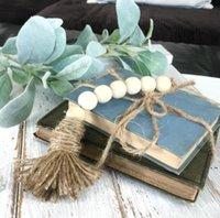 Naturale legno perline ghirlanda pendente decor creativo corda di canapa nappa perline stile nordico stile paese decorazione della casa di campagna arredamento fatto a mano HWC7130