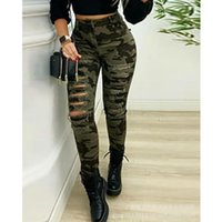 Women's Jeans WEPBEL Sexy Camouflage Print Hole Ripped Pants Ladies Elegant High Waist Slim Fit Bodycon Leggings Long Trousers