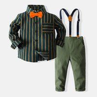 Boys Clothing Sets Kids Suits Children Outfit Baby Clothes Long Sleeve Bow Tie Striped Shirts Suspenders Trousers Pants 2Pcs Gentleman Birthday B7275