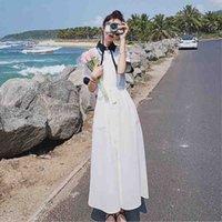 sukienka francuski suknia lato koreańska szczupła bajka super sen biała pierwsza miłość długa spódnica