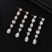 Shiny Long Geometry Cubic Zirconia CZ Crystal Drop Dangle Earrings For Women Wedding Bride Party Jewelry Accessories