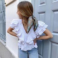 Boho Inspired VOLUMINOUS Ruffle Sleeve White Tops For Women V-neck Sexy Blouse Cotton Streest Wear Summer Top Women's Blouses & Shirts